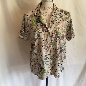 Hawaiian Floral Print Boxy Camp Shirt